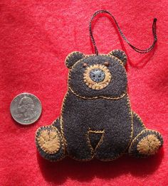 black bear ornament teddy bear ornament handmade original design - Bear Christmas Decorations