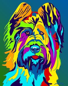 Multi-Color Briard Matted Prints & Canvas Giclées. Hand painted and printed in USA by the artist Michael Vistia. Dog Breed: The Briard is an ancient breed of large herding dog, originally from France.