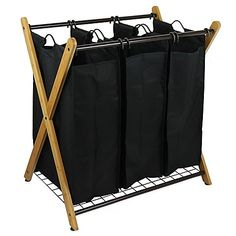 The Oceanstar X-Frame Bamboo Laundry Sorter makes doing laundry effortless and convenient. Features 3 bag compartments to separate your whites from colors and other delicates. Removable hooks on each bag allow you to grab and go hassle-free.