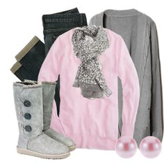 Lt. Pink long sleeved top, Dk. wash skinnies, Grey cable cardi, Silver sequin scarf, Grey button Uggs, Pink pearl earrings