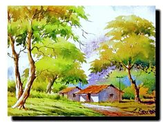 New Landscaping Drawing Buildings Ideas Tree Watercolor Painting, Watercolor Landscape Paintings, Landscape Drawings, Landscape Illustration, Watercolour Painting, Watercolors, Poster Color Painting, Composition Painting, Watercolor Architecture