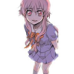 crazy eyes gasai yuno hair ribbon kca long hair mirai nikki pink eyes... ❤ liked on Polyvore featuring anime and manga