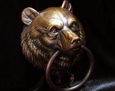 Bear's head knocker by Karl Deen Sanders, sculptor on Etsy