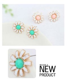 Hip Hop Yellow Gemstone Decorated Flower Design Alloy Stud Earrings ,Stud Earrings http://earrings.asumall.com/