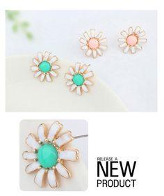 Hip Hop Yellow Gemstone Decorated Flower Design Alloy Stud Earrings ,Stud Earrings http://earrings.asumall.com/