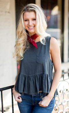 Free People Continental Peplum Top - Black because we're all about this babydoll tank fit.