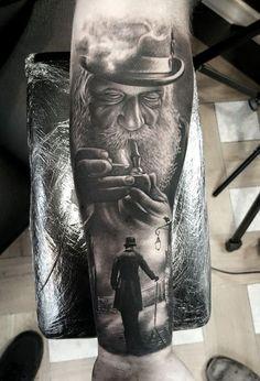 Tattoo Mann mit Pfeife und Hut