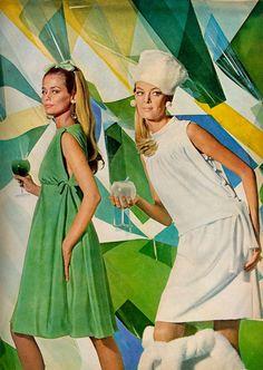 Lauren Hutton (in green) for US Vogue, October 1966.