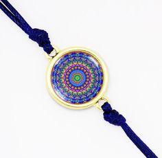 Vibrant Blue Mandala Friendship Bracelet, Handmade, Glass Dome Bracelet, Cord Stacking Bracelet, Silver , Bronze, Gold filled BCZA01R03K02