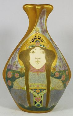 TEPLITZ AMPHORA PORTRAIT VASE OF WOMAN  Antique Riessner, Stellmacher & Kessel Amphora Trnovany Bohemia hand painted portrait vase depicting a woman with tiara.