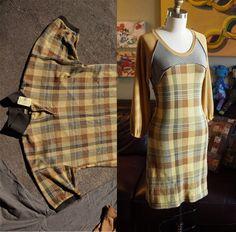 LovebirdT - Mustard Plaid Autumn Dress Ojo, la espalda de la falda tiene truco. Está entallada a la cintura dejando los cuadros en espiga y dando vuelo a la falda