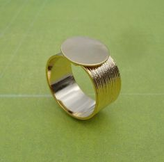 Gold Adjustable Ring with 10mm Brushed Gold by TheSupplyFactor