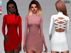 -a choker bodycon dress with criss-cross strap details at the back  Found in TSR Category 'Sims 4 Female Everyday'