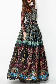 Colorful Vintage Print Maxi Voile Dress
