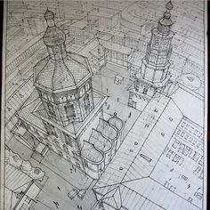 City sketch drawn from bird's eye view with 3 point perspective