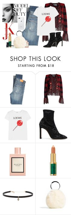 """Model Off Duty Contest"" by katartrina ❤ liked on Polyvore featuring Citizens of Humanity, Balmain, Loewe, Jimmy Choo, Gucci and Carbon & Hyde"