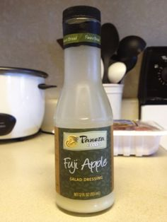 Panera Fuji Apple Dressing Copycat recipes: 1st Option: 1/2 cup apple juice concentrate 2 tablespoons apple balsamic vinegar 1/2 cup creme fraiche (could use sour cream, yogurt or kefir) 2 T. honey or agave  2nd Option: 2 T. Olive Oil 1 T. White Balsamic Vinegar 1 T. Apple Cider Vinegar 1 T. Garlic Powder 1 T. Onion Powder 1 1/2 t. Dijon Mustard 3 T. Organic Frozen Applejuice Concentrate