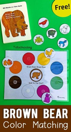 Brown Bear Color Matching Printable for Toddlers FREE printable book activity for toddlers to go along with Eric Carle's Brown Bear book. Great for toddlers and preschoolers who are learning colors and animals! Toddler Learning Activities, Toddler Preschool, Classroom Activities, Bear Activities Preschool, Color Activities For Toddlers, Toddler Color Learning, Colors For Toddlers, Brown Bear Activities, Preschool Printables