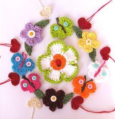 Crochet Pattern Appliques, Flowers, Heart, Butterfly, Easy, Great for