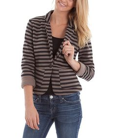 Take a look at this Brown Stripe Blazer by Buy in America on #zulily today! Misses Clothing, Striped Blazer, Blazer Buttons, Clothes Horse, Blazer Jacket, Preppy, Cute Outfits, My Style, Casual