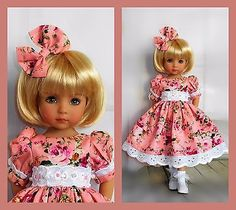"""Handmade dress and hair bow fits Dianna Effner 13"""" little darling doll"""