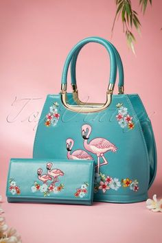 Banned Flamingo Handbag Teal Blue 212 30 15793 03252015 13W