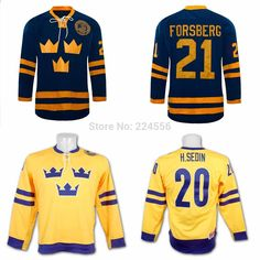 e4b2545de Customize Peter Forsberg 21 Team Sweden Hockey Jersey Blue Find More Sports  Jerseys Information about customize 21Peter Forsberg 20 Henrik Sedin Team .
