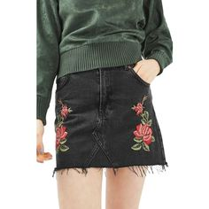 Women's Topshop Rose Denim Miniskirt ($68) ❤ liked on Polyvore featuring skirts, mini skirts, washed black multi, denim mini skirt, high waisted denim skirt, denim miniskirt, high waisted mini skirt and short skirts