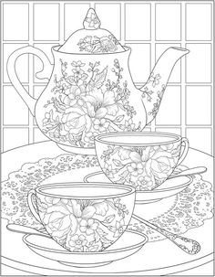 Free tea time coloring pages from Dover Publications Make your world more colorful with free printable coloring pages from italks. Our free coloring pages for adults and kids. Adult Coloring Book Pages, Free Printable Coloring Pages, Free Coloring Pages, Coloring Sheets, Coloring Books, Colouring Pages For Adults, Coloring Pages To Print, Dover Publications, Cat Drawing