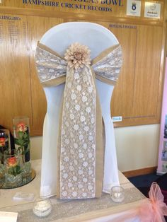 Hessian, burlap lace wedding chair sash Tie the Knot Events - Hampshire