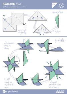 Diagram For A Modular Origami Star Navigator Designed By Maria Sinayskaya Folded With 4 Triangular Sheets Of Paper Without Glue