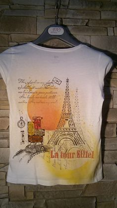 Z+Paříže+Ručně+malované+tričko+s+cestovatelským+motivem+Jedná+se+pouze+o+návrh,+můžete+si+vybrat+vlastní+velikost+bílého+trička,+na+které+Vám+motiv+namaluji.+Ve+skutečnosti+jsou+barvy+výraznější,+živější.