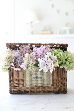 Antique French Basket  With Hydrangeas - Antique Label