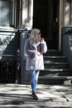Whistles faux fur (similar here) // Zara jeans (similar here) // Gucci horse bit ankle boots