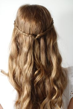 Half up half down twisted braid hair tutorial