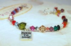 Born To Shop Charm Swarovski Crystals Beaded by CKDesignsUS, $46.00