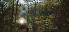 Stove, wood burner, evening, Lost Meadow Tree tent, Broom Park Farm, Cornwall
