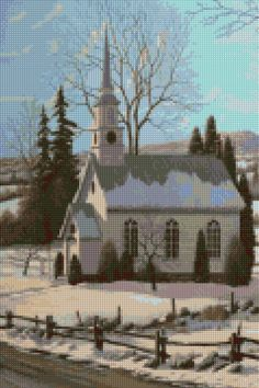 Country Church Cross Stitch pattern PDF - EASY chart with one color per sheet And traditional chart! Two charts in one! by HeritageChart on Etsy