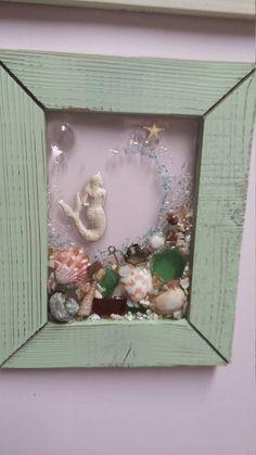 5x7 mini Mermaid seaglass beachart frame green