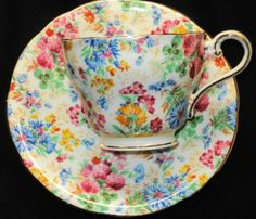 AYNSLEY PINK YELLOW BLUE CLOVER CHINTZ WHITE TEA CUP AND SAUCER