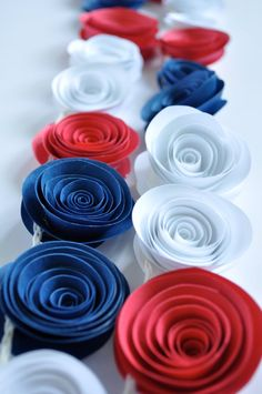 Patriotic Garland Red, White, Blue Garland, Fourth of July Decoration 4th Of July Celebration, 4th Of July Party, Fourth Of July, White And Blue Flowers, Red White Blue, Paper Flower Garlands, Paper Flowers, Orange Paper, Let Freedom Ring