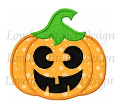 Pumpkin With Face Applique Machine by LovelyStitchesDesign on Etsy