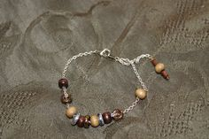 Chain with Green and Brown Wood Rounds and Metallic Glass Flat Rounds Bracelet