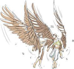 .Wings pose.
