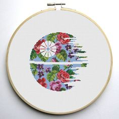 Star Wars Cross Stitch PDF pattern Floral Death Star