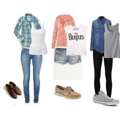 #3 - A grey tank with a chambray shirt over top ; black jeggings and grey converse  created by maryrouse on Polyvore