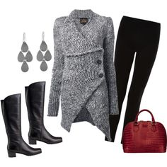 """Winter Sweater Outfit with a Pop of Red"" by colorado-kim on Polyvore"