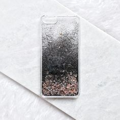 Black Gold Silver Stars Liquid Glitter Quicksand Cell Phone Case... (41 BRL) ❤ liked on Polyvore featuring accessories and tech accessories