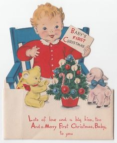 Vintage Greeting Card Baby's First Christmas Die-Cut Cute Child Norcross 3D