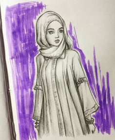 Just a cute muslim girl to start the day. (She looks more serious than I intended to do it. Fashion Sketches, Art Sketches, Art Drawings, Beautiful Hijab Girl, Nose Drawing, Painting Of Girl, Girl Sketch, Muslim Girls, Cool Paintings